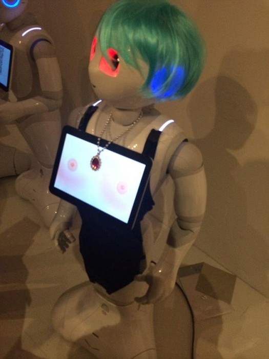 Disturbing: Computer pranksters have already reprogrammed the touchscreen hanging from Pepper the Robot's neck to give Pepper 'virtual breasts'