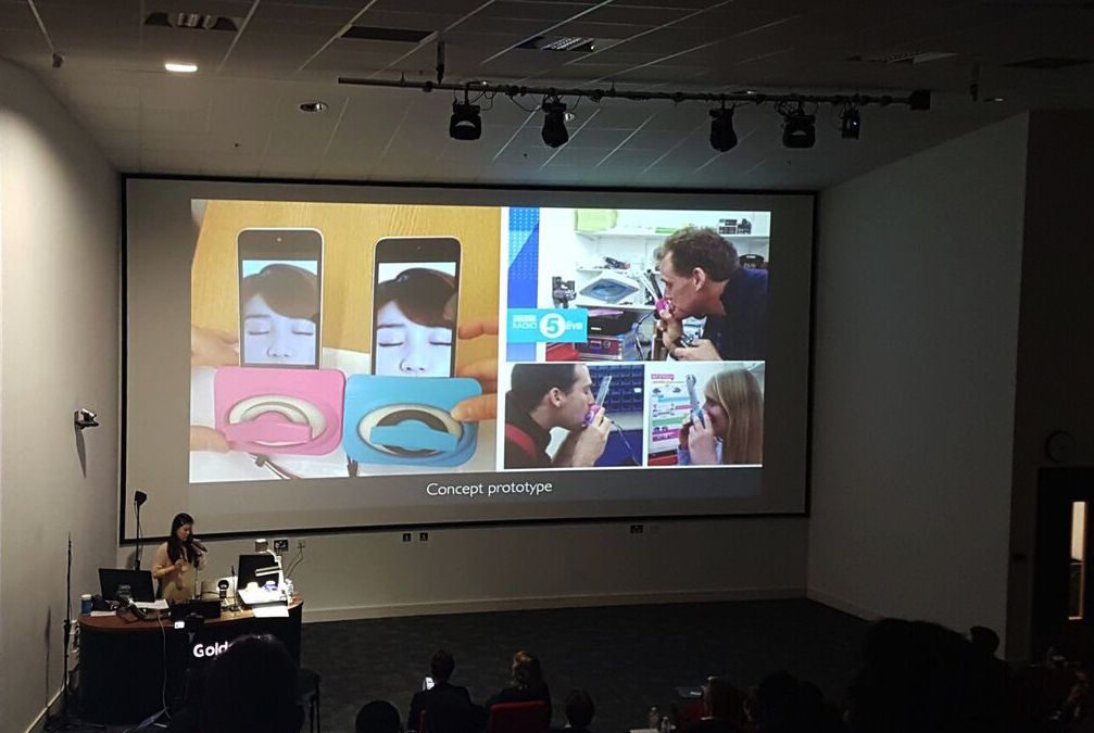 The latest prototype of long-distance kissing device Kissenger was presented at the Love and Sex with Robots conference.