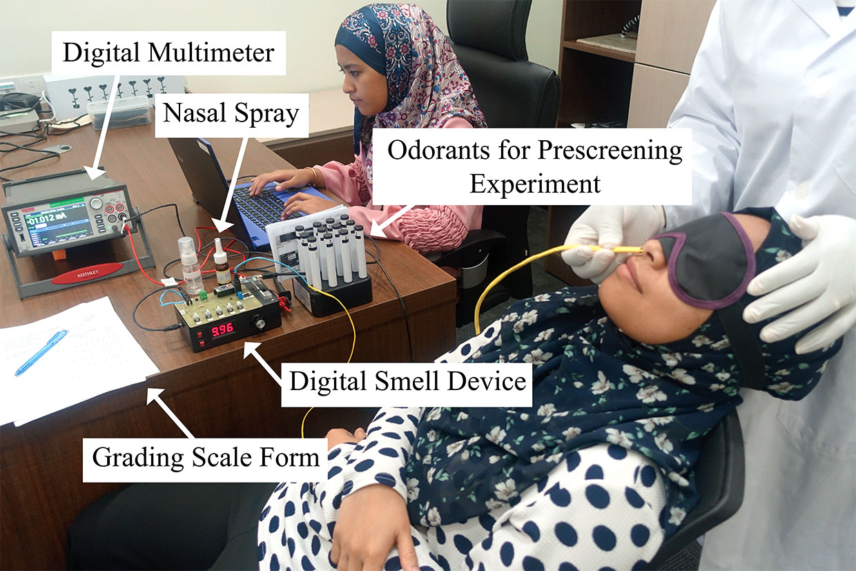 The digital smell experiment setup